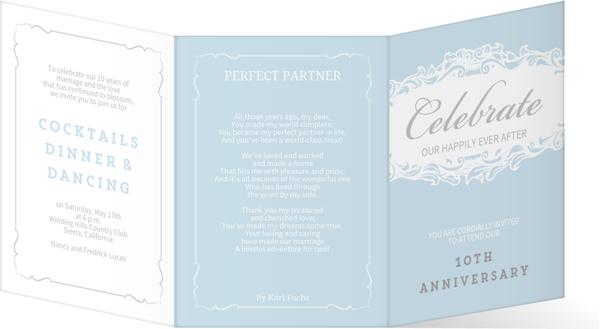 10th Wedding Anniversary Invitations: Blue Formal Trifold Wedding Anniversary Invitation