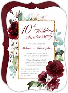 Elegant Burgundy Florals 10th Anniversary Invitation