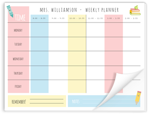 Time Grid Teacher Weekly Notepad