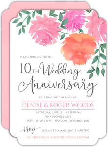 Pink Watercolor Peonies 10th Anniversary Invitation