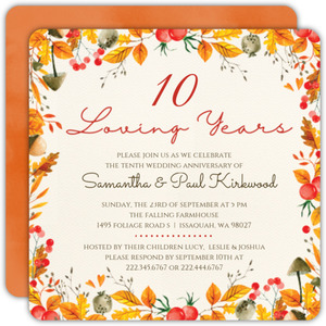 Autumn Foliage 10th Anniversary Invitation
