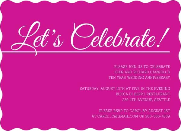10th Wedding Anniversary Invitations: Pink Confetti Let S Celebrate 10Th Anniversary Invitation