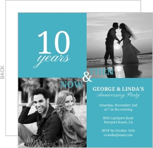 Blue Modern Squares 10Th Anniversary Invitation