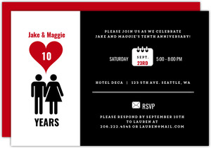 Black and White Icon Love 10th Anniversary Party Invitation