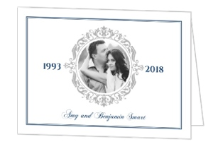 Navy and Gray Elegant Frame Silver Anniversary Invitation