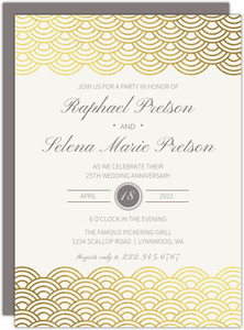 Gold Scallop Foil 25th Anniversary Invitation
