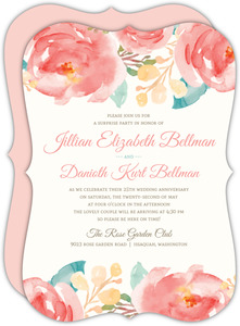 Pink Elegant Watercolor Flower 25th Anniversary Invitation