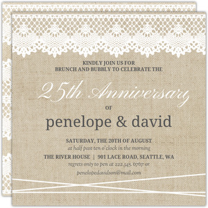 Vintage Burlap Lace 25th Anniversary Invitation