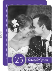 Purple Silver Faux Glitter Wedding Anniversary Invitation