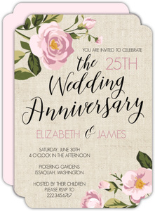 Vintage Burlap Floral 25th Anniversary Invitation