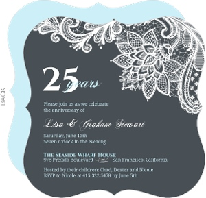25th anniversary invitations blue and white lace 25th anniversary invitation stopboris Image collections