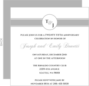 Silver Monogram Anniversary Party Invite