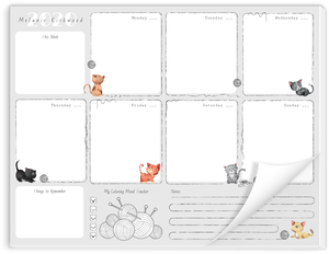 Cats & Yarn Personalized Weekly Notepad