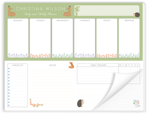 Forest Animals Personalized Weekly Notepad