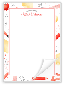 Watercolor School Personalized Notepad