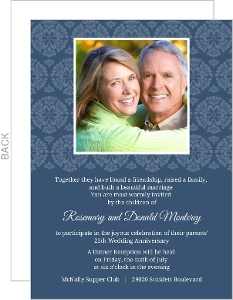 Decorative Flourish White And Navy 25Th Anniversary Invitation