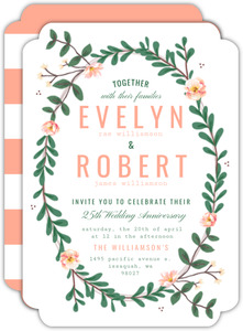 Spring Greenery Florals 25th Anniversary Invitation