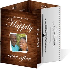 Rustic Wood Grain Anniversary Invite and Rsvp
