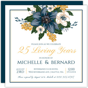 Modern Blue Floral 25th Anniversary Invitation