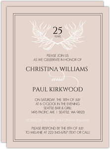 Wild Leaf Monogram 25th Anniversary Invitation