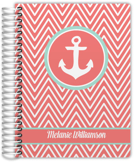 Coral and Mint Chevron Anchor Planner