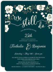Charming Deep Blue And Ivory Floral 25th Anniversary Invitation
