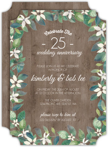 Delicate White Flower & Wood Anniversary Invitation