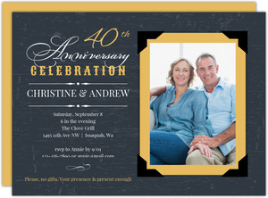 Yellow Vintage Frame 40th Anniversary Invitation