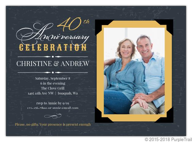 Yellow Vintage Frame 40th Anniversary Invitation Custom