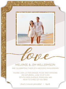 Modern Glitter Frame 25th Anniversary Invitation