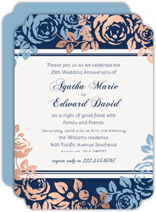 Faux Copper Foil Blue Floral 25th Anniversary Invitations
