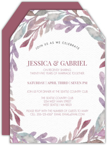 Purple Watercolor Foliage Frame 25th Anniversary Invitation