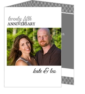 Gray and White Elegant Border Anniversary Invitations