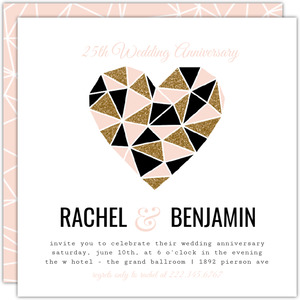 Modern Geometric Glitz 25th Anniversary Invitation