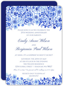 Cascading Hand-painted Floral 25th Anniversary Invitation