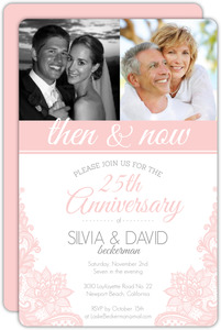 Blush Pink Lace Wedding Anniversary Party Invitation
