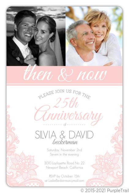 Blush Pink Lace Wedding Anniversary Party Invitation