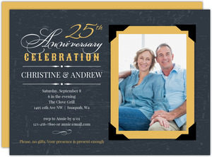 Yellow Vintage Frame 25th Anniversary Invitation