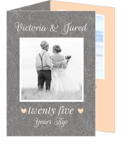 Simple Gray Photo Anniversary Invite - 3971
