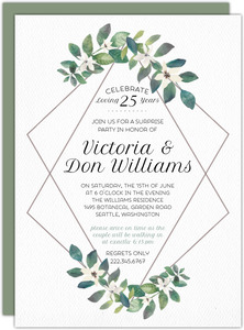 Diamond Frame Greenery 25th Anniversary Invitation