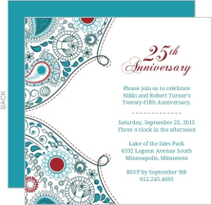 Paisley Red Anniversary  25th Anniversary Invite