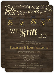 Rustic String Lights 25th Anniversary Invitation