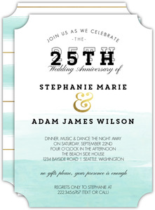 Modern Dip Dyed Watercolor 25th Anniversary Invitation