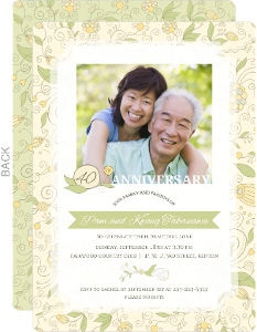 Summer Floral 40Th Wedding Anniversary Invitation