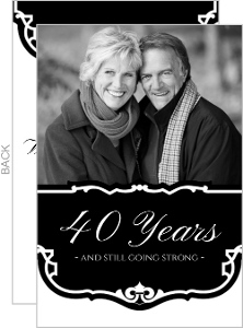 Black and White Vintage  40th Anniversary Party Invitation
