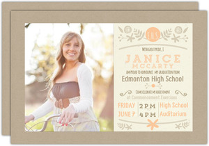 Peach and Kraft Graduation Invitation Card
