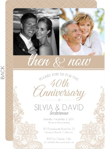 Beige Lace 40th Wedding Anniversary Invitation