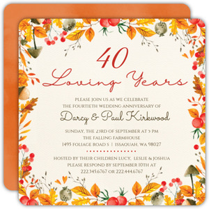 Autumn Foliage 40th Anniversary Invitation