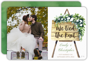 Greenery We Tied The Know Wedding Announcement