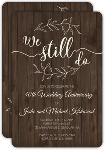 Textured Wood Botanical 40th Anniversary Invitation